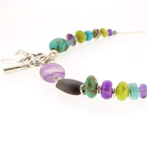 Key necklace sterling silver with amethyst turquoise and wood beads